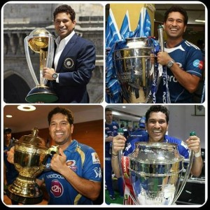 Sachin With Different Trophy