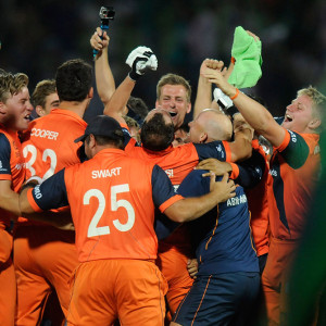 Netherlands Player Celebration After Qualifying For Super 10 Stage In Twenty 20 World Cup 2014