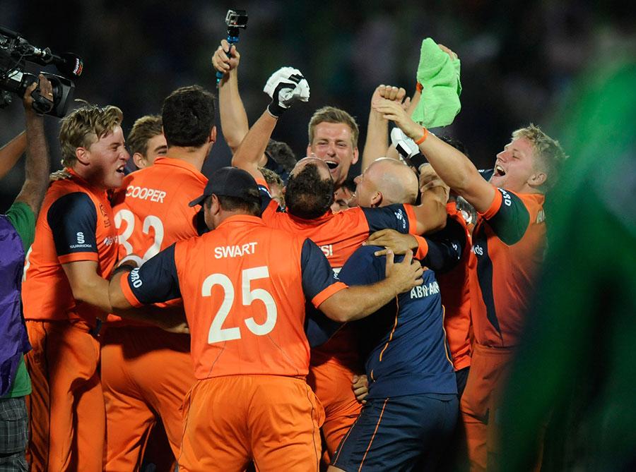 Netherlands Player Celebration After Qualifying For Super 10 Stage In Twenty 20 World Cup 2014