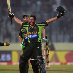 Shahid Afridi Celebrating The Victory On Last Over