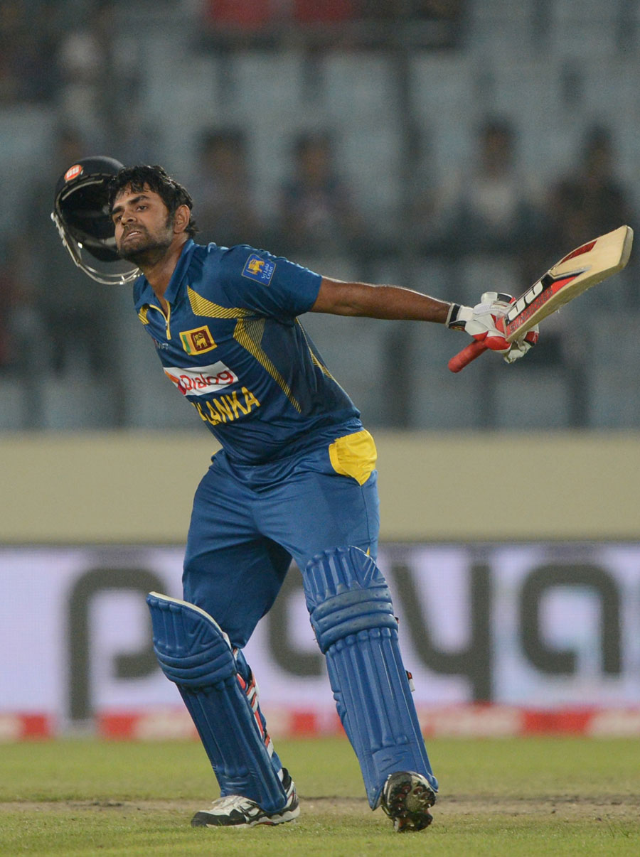 Asia Cup 2014 Final: Lahiru Thirimanne Celebrating His 3rd ODI Hundred
