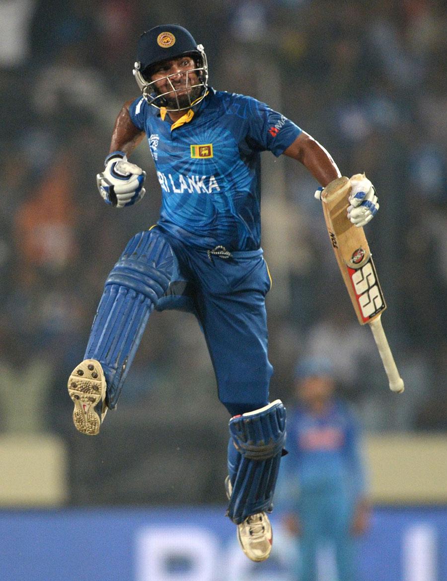 KC Sangakkara (SL) Leaps a Joy After Winning The Match (Player Of The Final Match)