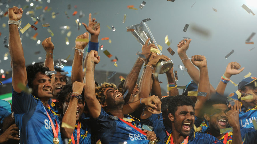 Sri Lanka Team Celebrating The Victory With World T20 Trophy